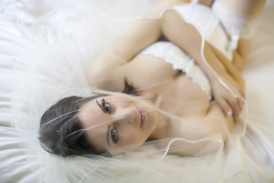 Silicon Valley Bridal veil boudoir photo