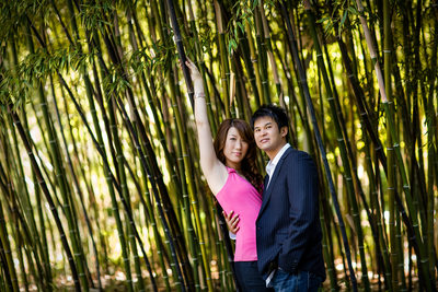 Japanese garden bamboo engagement session