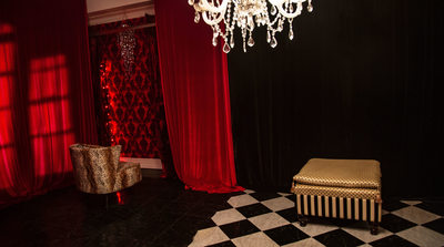 red room on 1st floor boudoir photography studio