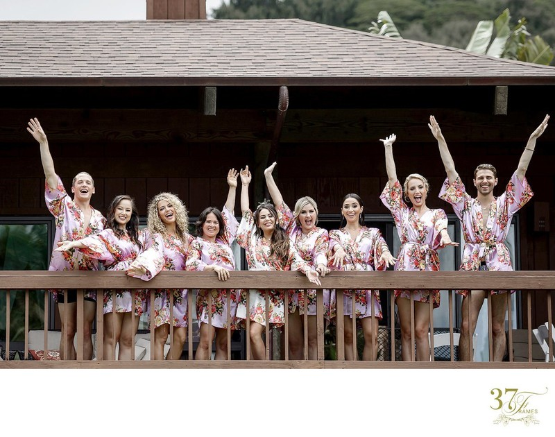 Janel Parrish Bridal Party in Matching Robes