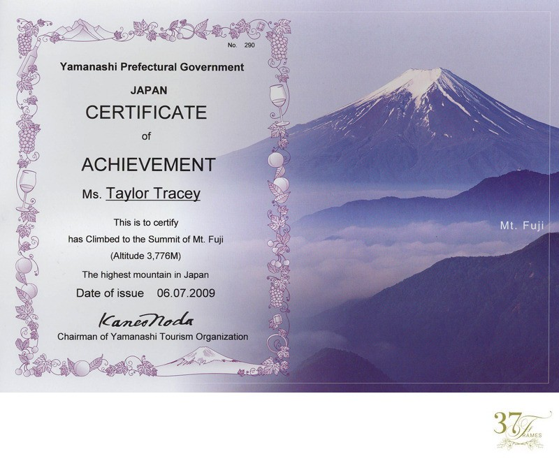 Certificate of Achievement for Climbing Mt Fuji