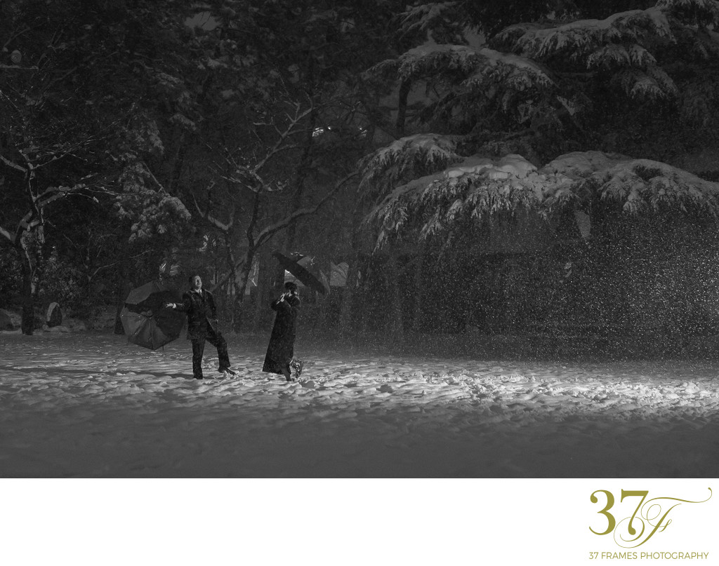 Couple Photography in the Snow at Night.