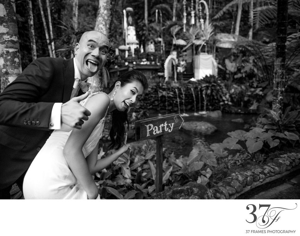 Bride and Groom having fun at their Bali Wedding