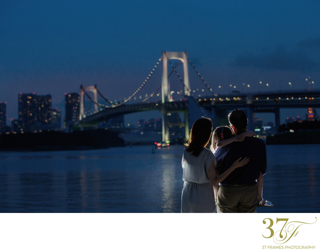 Family Photography with the Tokyo Skyline View at Night