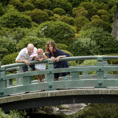 Tokyo Family Photos | The Green Japanese Bridge at Nezu