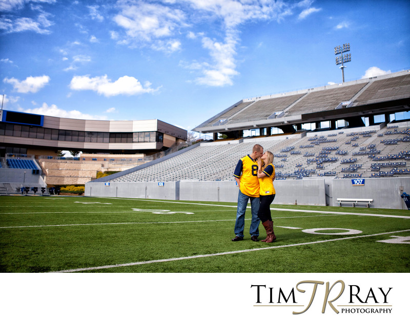 Engagement portrait at Mountaineer Field, Mylan Puskar Stadium