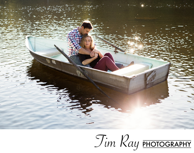 Engagement Portrait in Boat at sunset