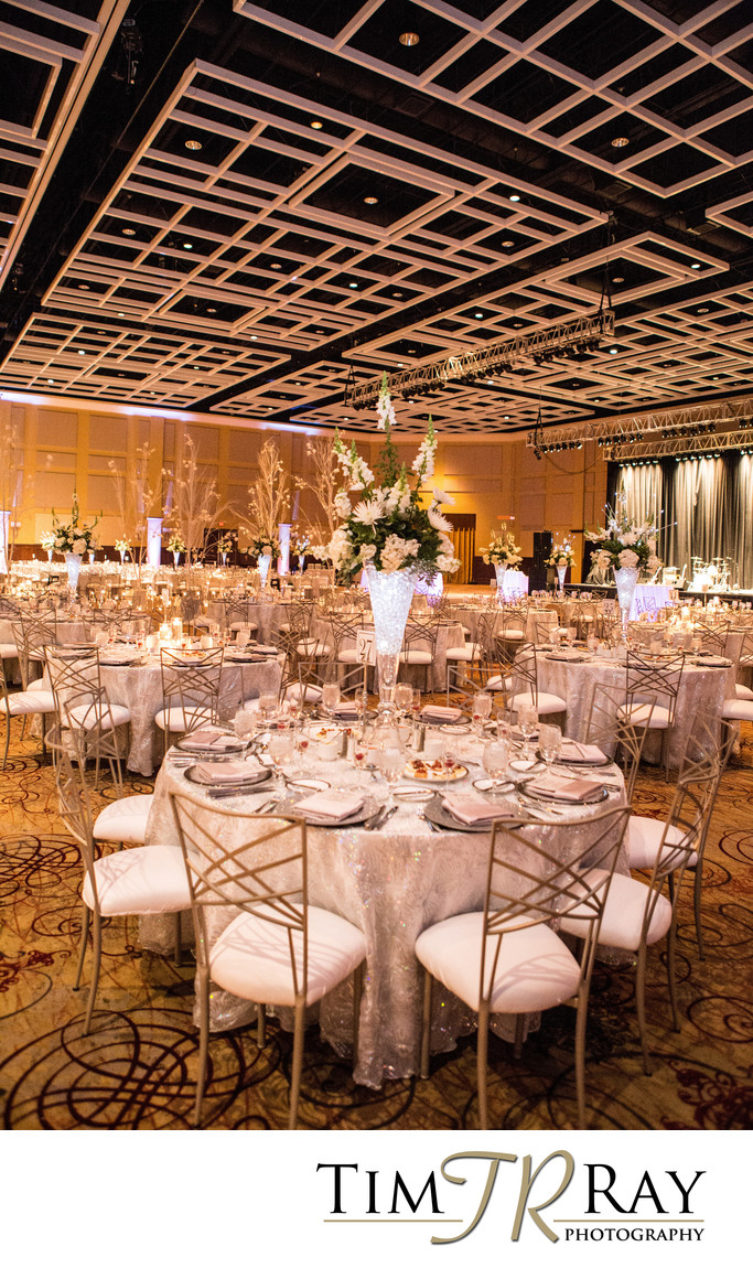 Morgantown Event Center at Waterfront Place fabulously decorated for a winter wedding.