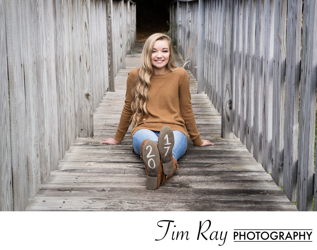 Senior Portrait of girl on bridge at Canaan Valley
