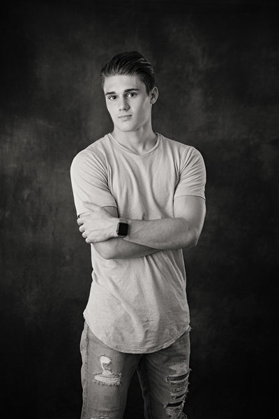 Black & White senior portrait