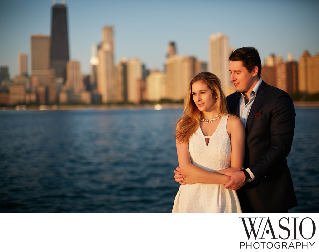 Sunset Engagement by Lake Michigan