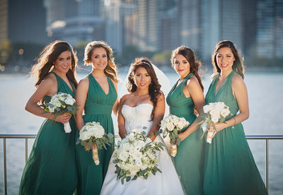 Bridal Party Portraits by Lake Michigan