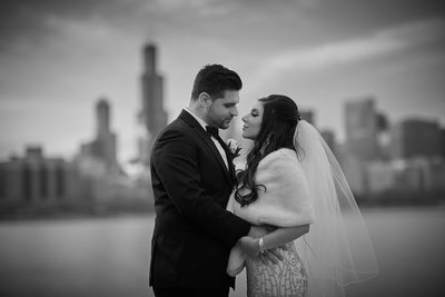 Black and White Wedding Portrait, Chicago Skyline