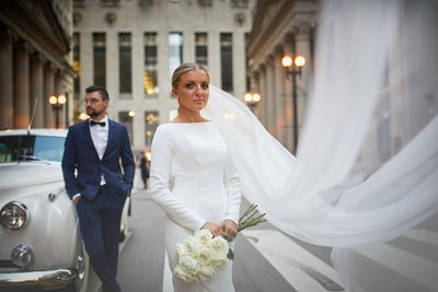 Cathedral veil Chicago bride