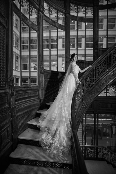 Rookery building staircase Bridal portrait