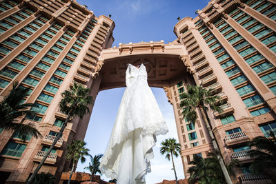 Atlantis Bahamas Wedding Dress Shot