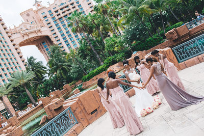 Praying Bridesmaids Bahamas Atlantis