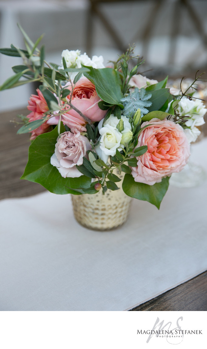 Flower arrangements for farm tables