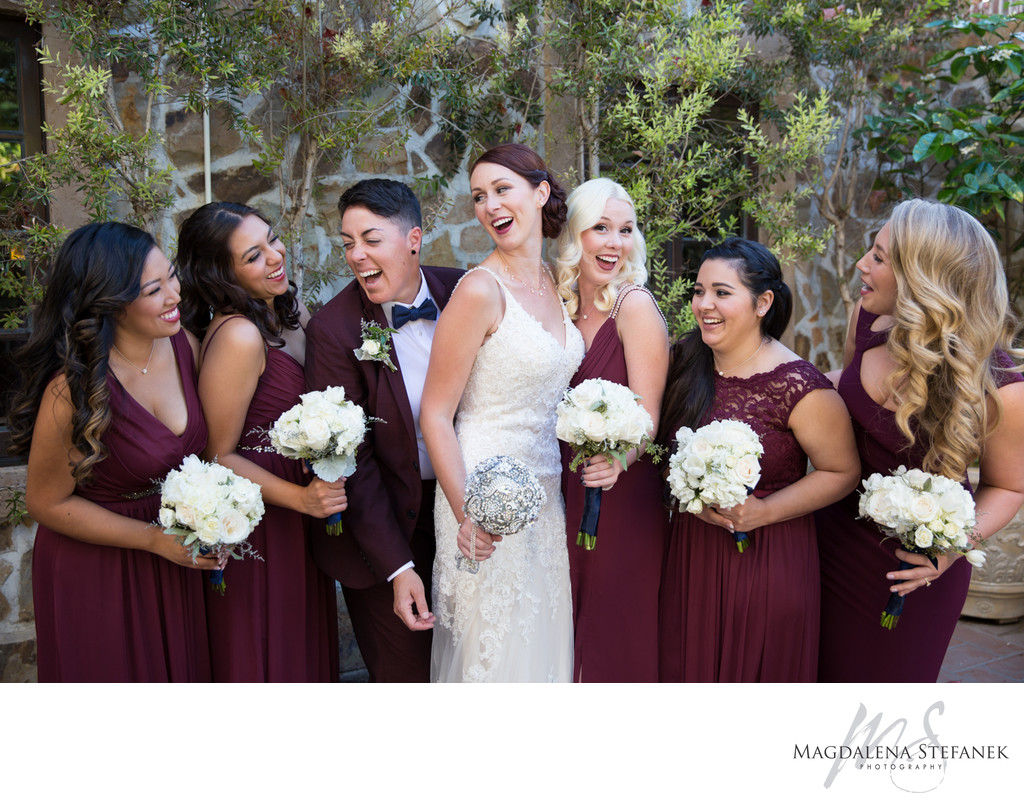 Bride and Bridesmaids at Jacuzzi Winery