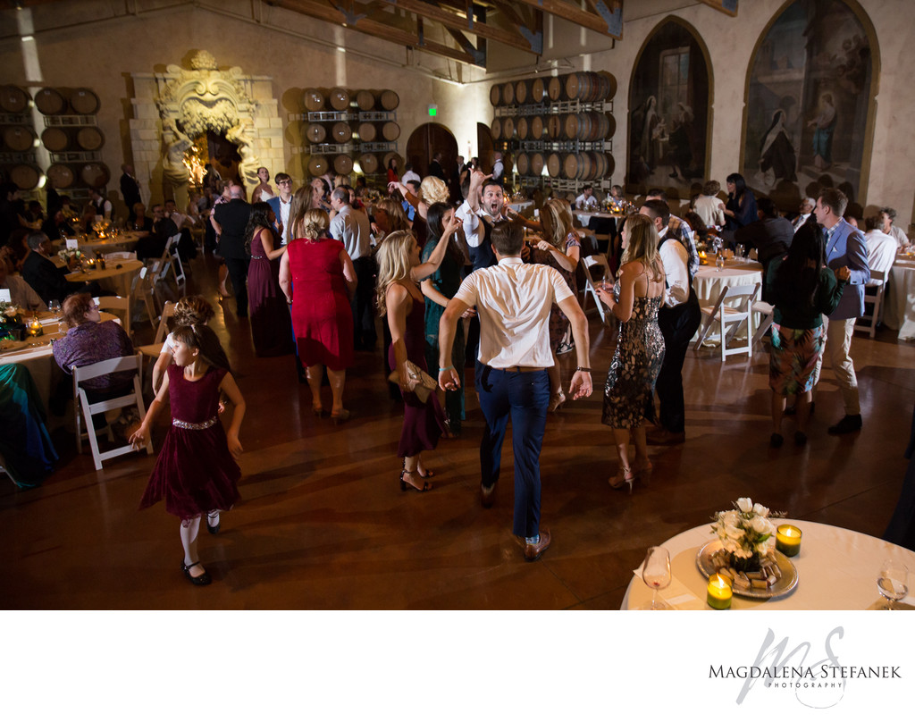 Wedding reception at Jacuzzi Winery Barrel Room
