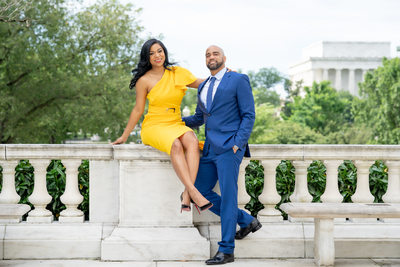 Couple in love in Washington DC engagement photographer