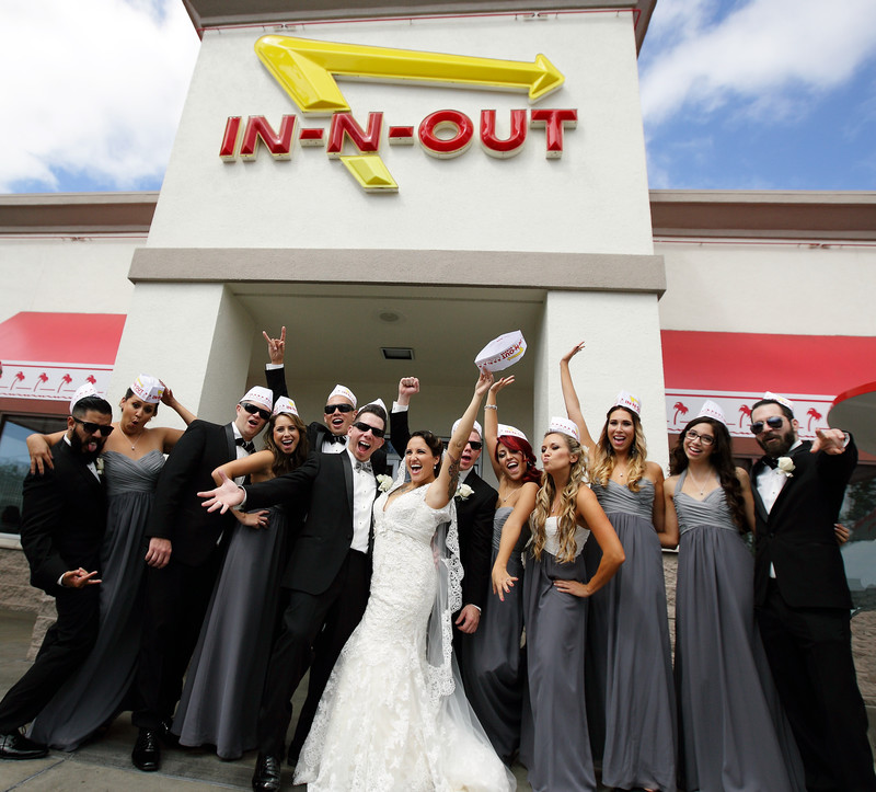 los angeles wedding party in n out