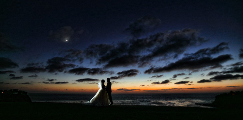 Wayfarers Chapel Wedding Beautiful Sunset Moon