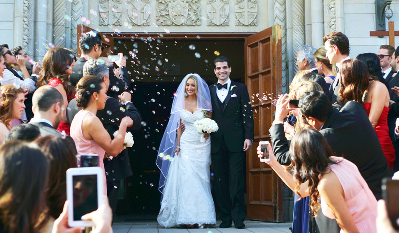 Saint Monica Wedding photographer Church Exit