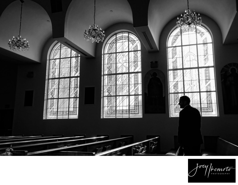 Los Angeles Wedding Photography Groom at Church