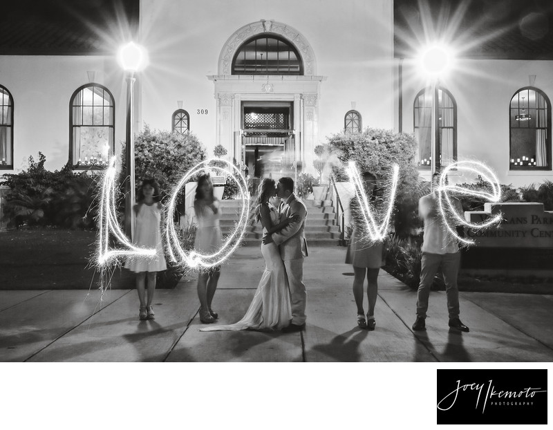 Redondo Beach Library Wedding Love Sparklers