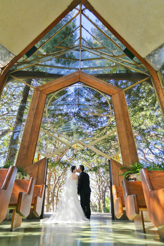 Wayfarers Chapel Wedding, Beautiful sunlight