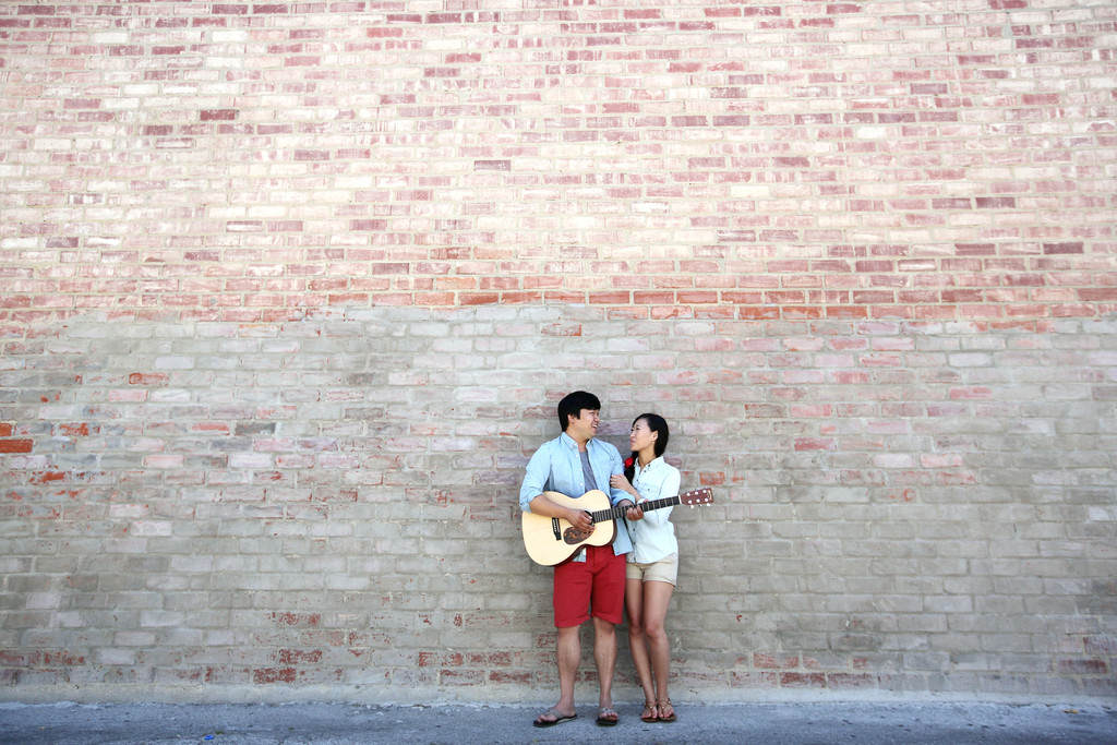 torrance engagment photography guitar and brick wall