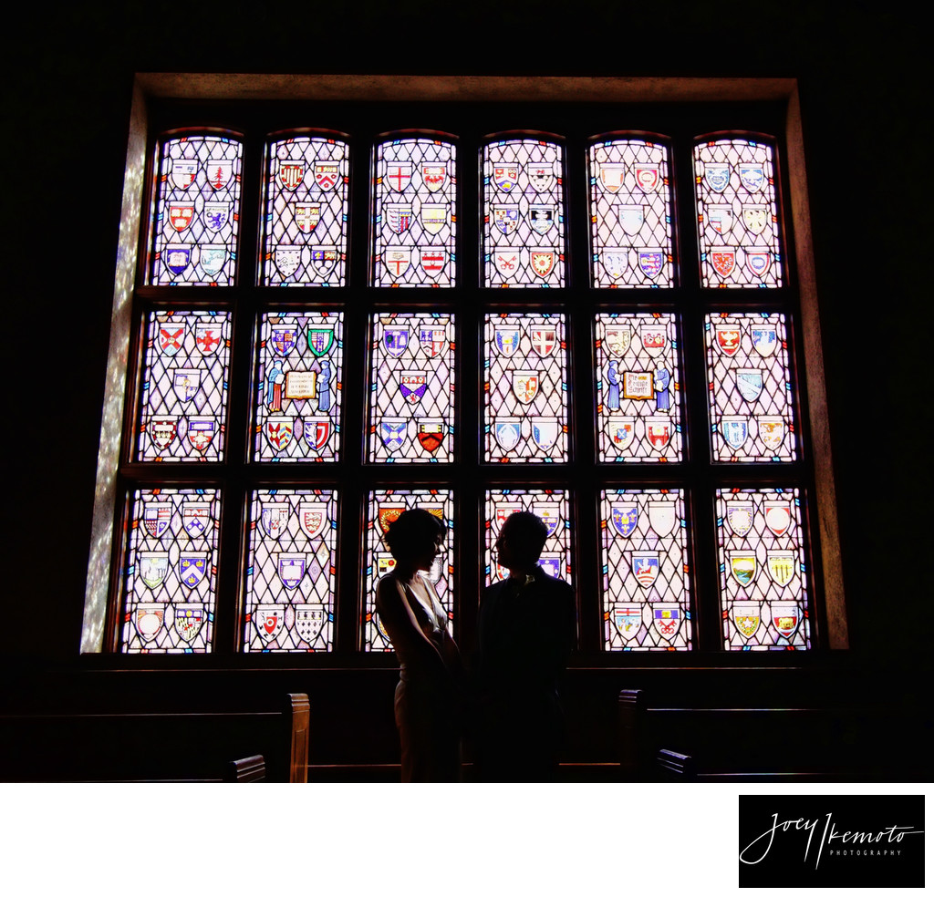 Los angeles wedding photography Stain glass church