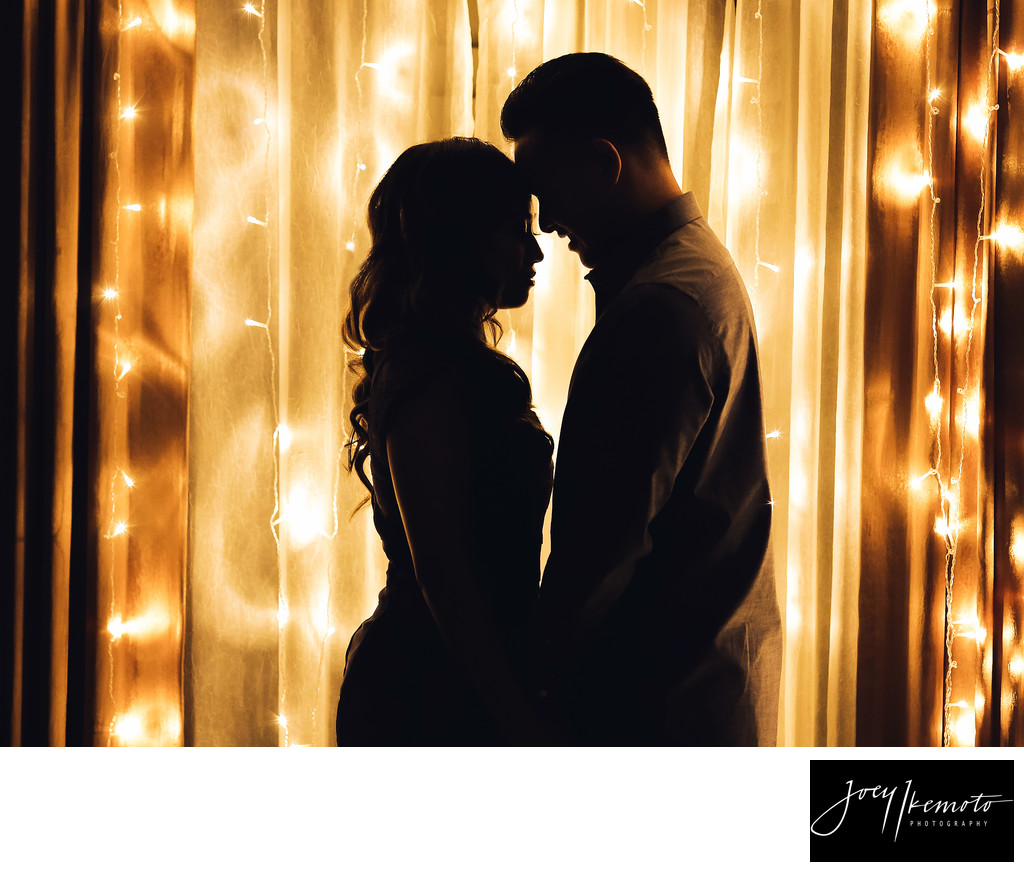 Torrance Engagement Photographer twinkle lights