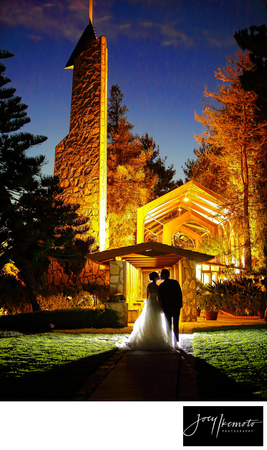 Beautiful Wayfarers Chapel Night Wedding