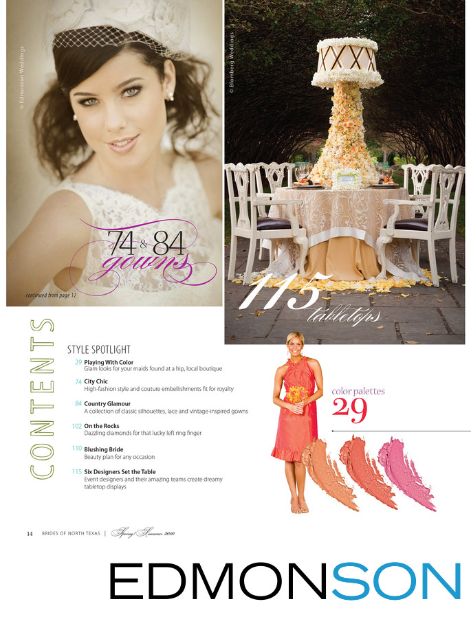Brides of North Texas Magazine Content Page