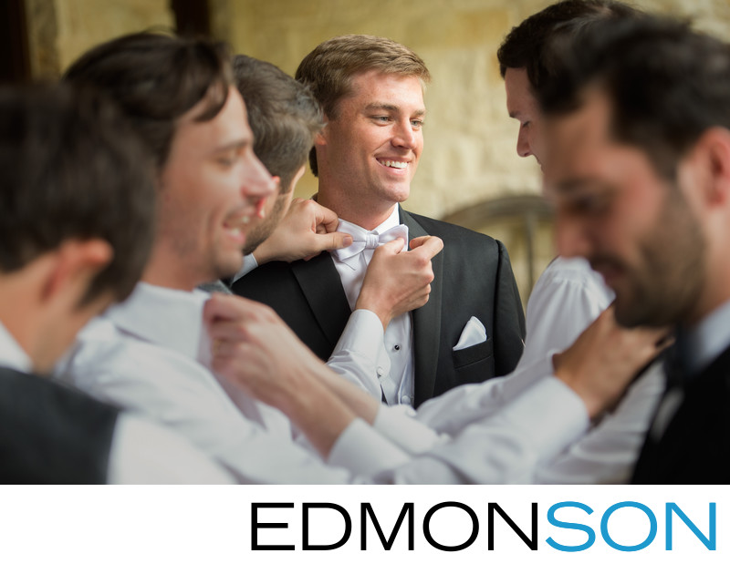 Candid Moment Shows The Energy Of Groomsmen Prepping