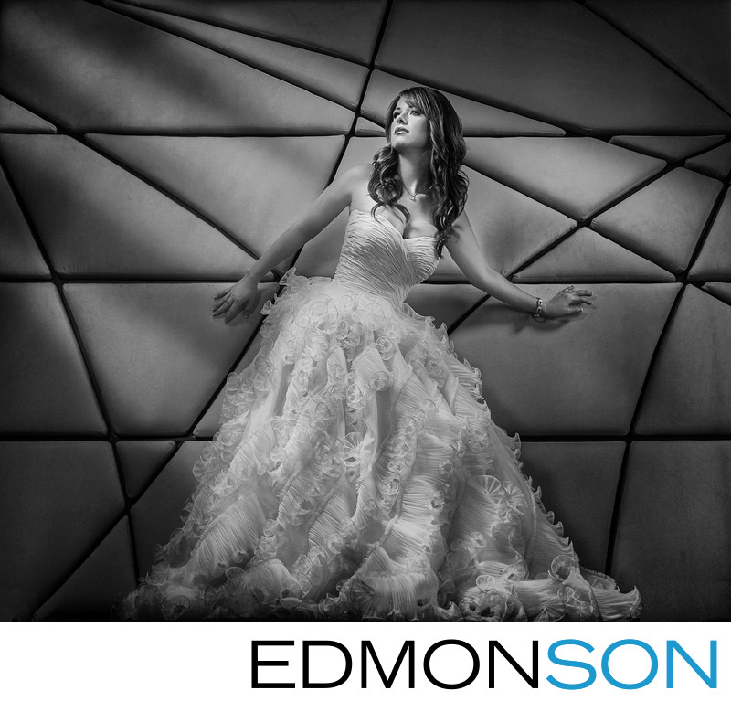 Modern Bridal Portrait With Graphic Black & White Twist