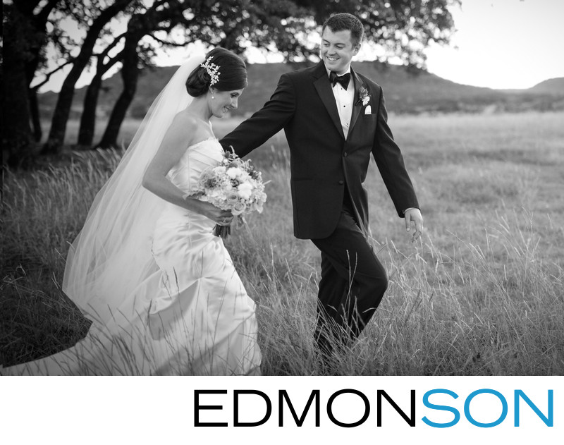 Black & White Outdoor Wedding Photo At Rough Creek