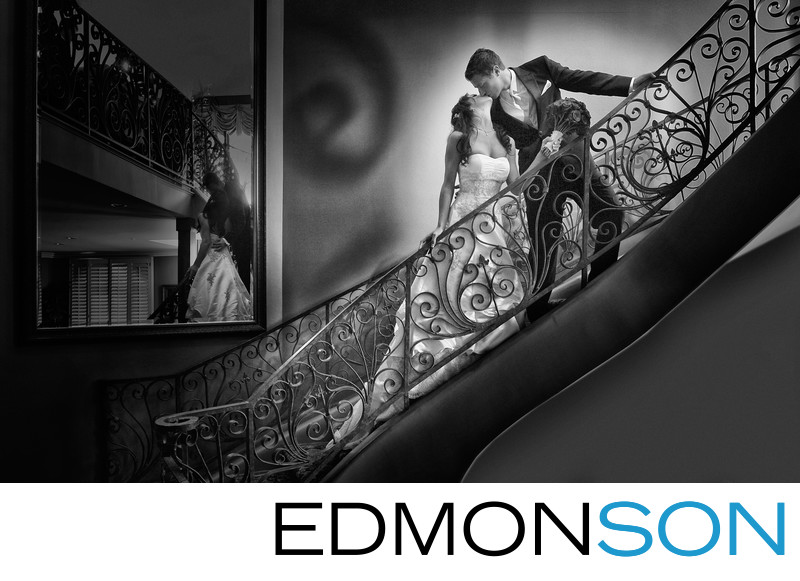 Artistic Black & White Wedding Photo On Stairs