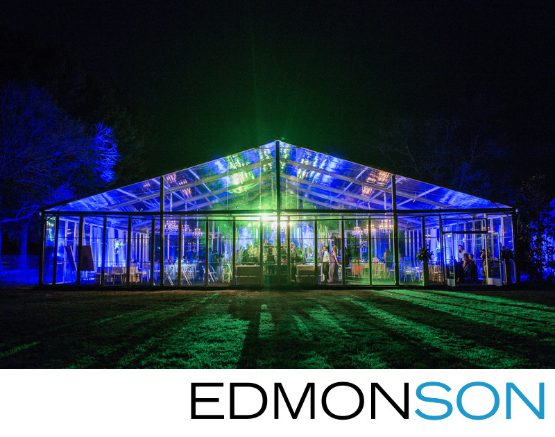 Estate Wedding Reception Tent Lit Up At Night