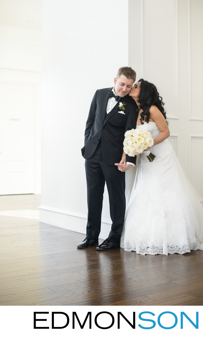 Bride Sneaks First Look Kiss From Groom