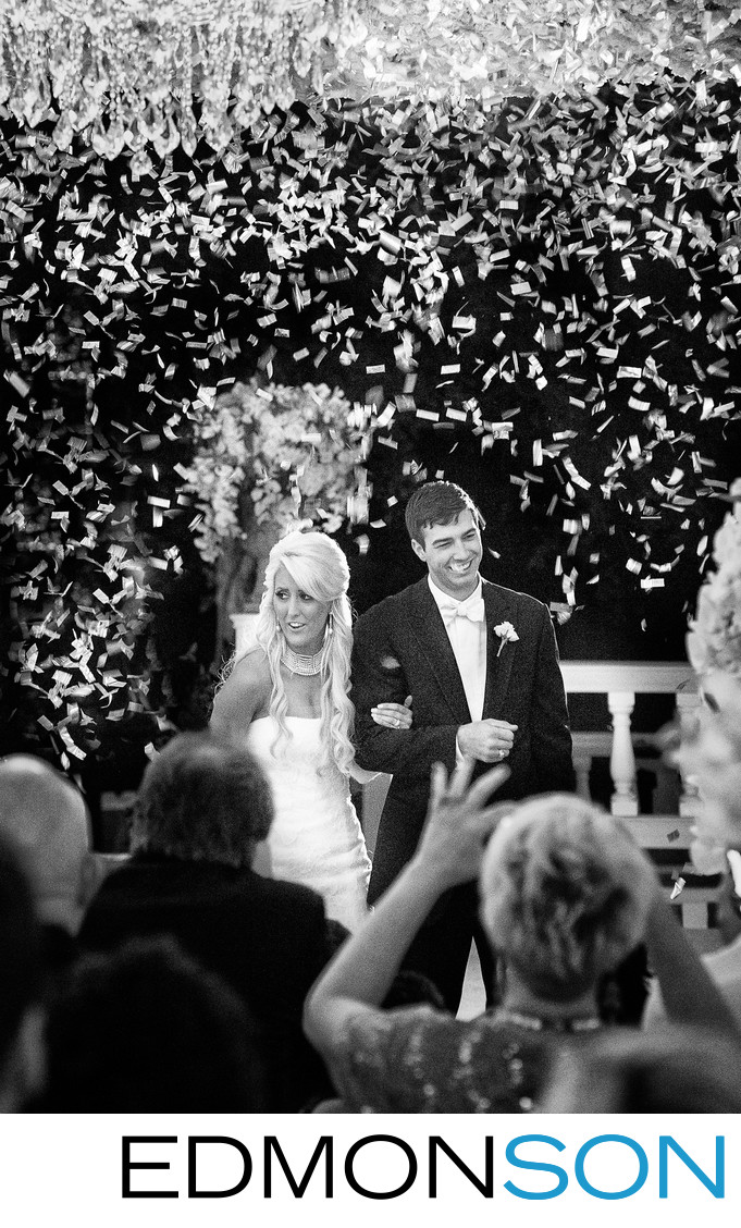 Confetti Showers Couple's Grand Entrance