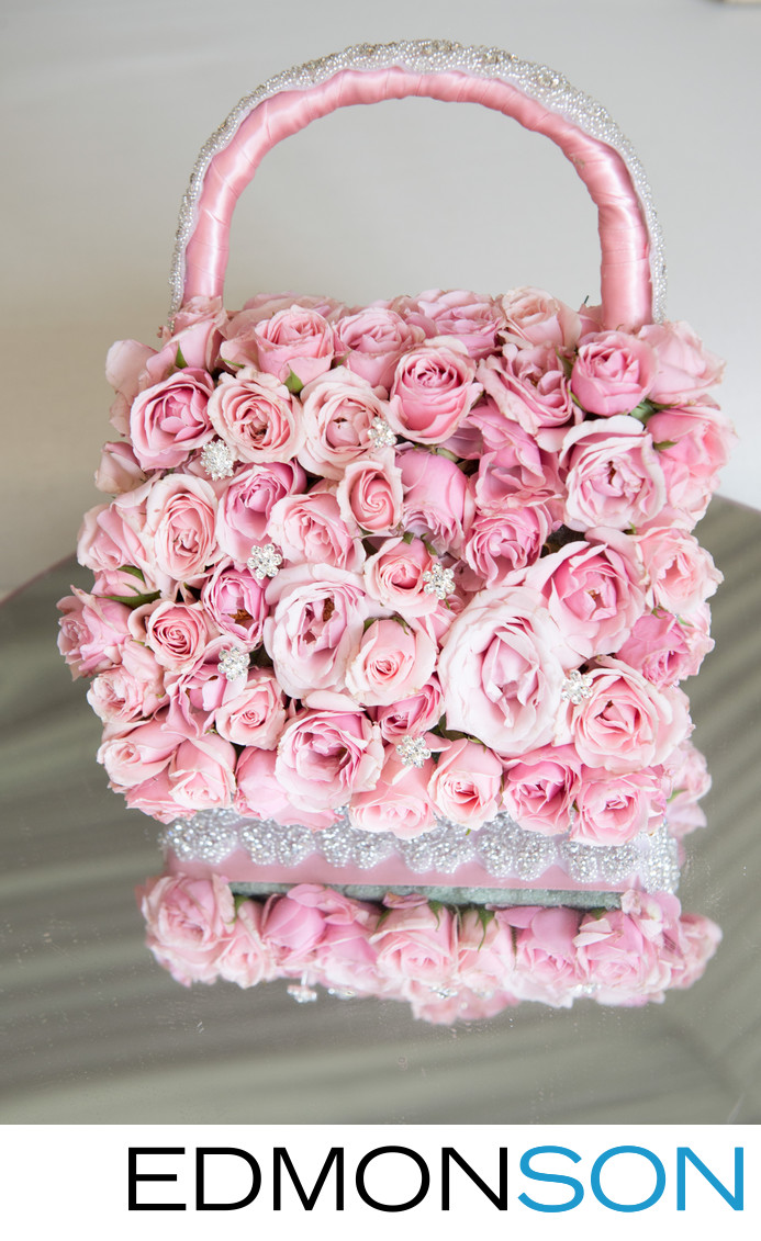 Junior Bridemaids Pink Floral Purse Wedding Detail