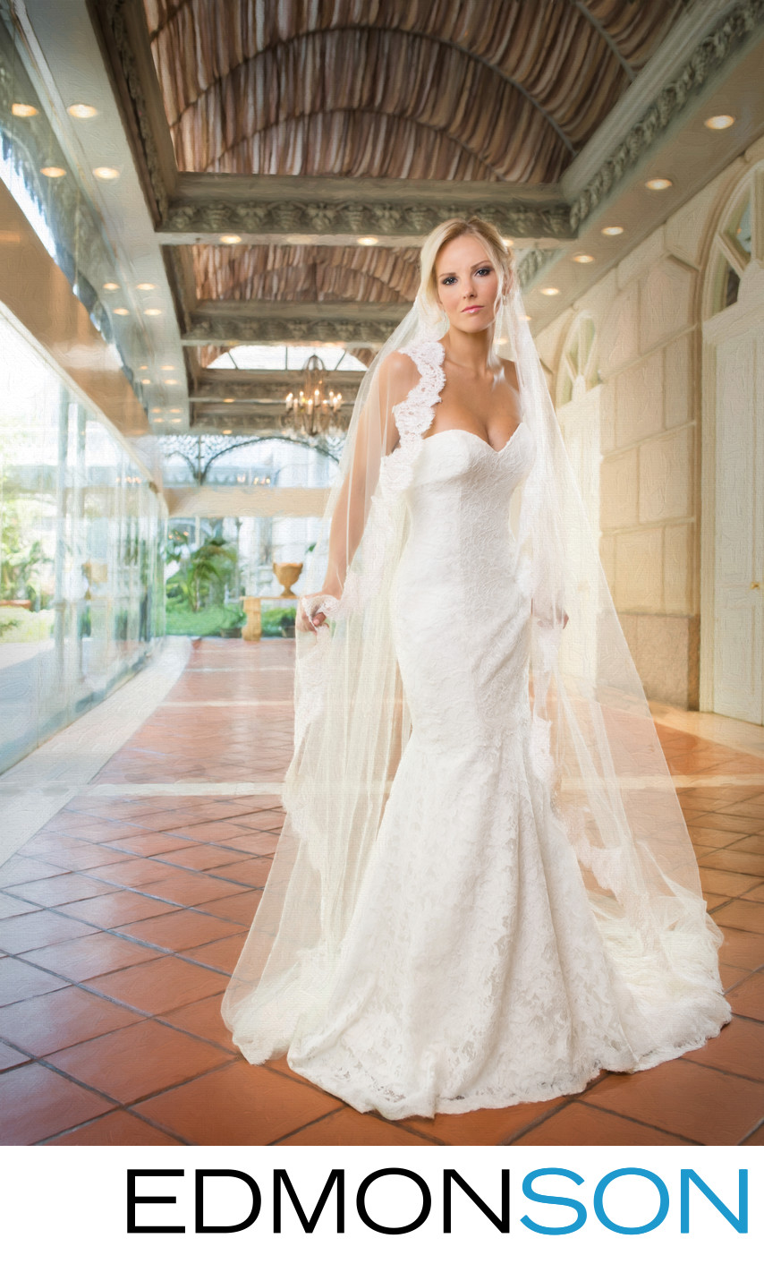Classic Crescent Bridal Portrait In Garden Room