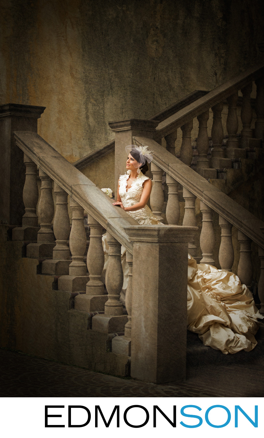 Grand Stone Staircase Bridal Portrait At Canals