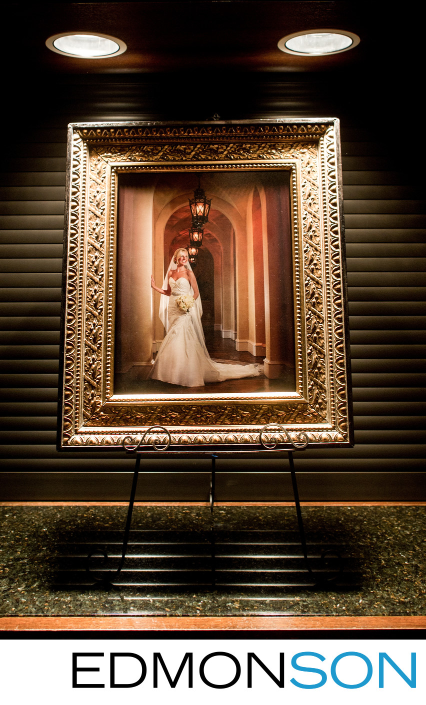 Bridal Portrait On Display At Dallas Wedding Reception