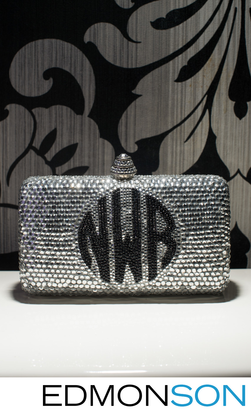 Wedding Clutch Monogrammed Black on Silver Glitter
