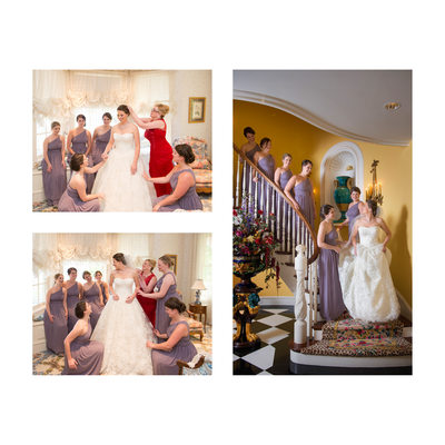 Bridesmaids Assist Bride Before Dallas Wedding