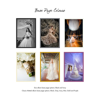 Wedding Album Cover Base Page Colors For Matted Duo